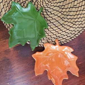 Fall Maple Leaves Ceramic Plates 2